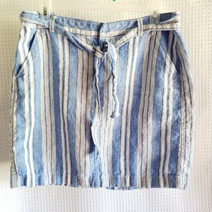 TOMMY HILFIGER 100% Linen stripe skirt